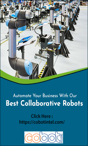 A Various Collection Of Cobot Arms Arranged In An Industrial Sector to do some task.