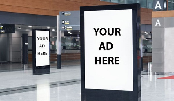 Digital Signboard Mockup For Advertisement Design In A Shopping Center